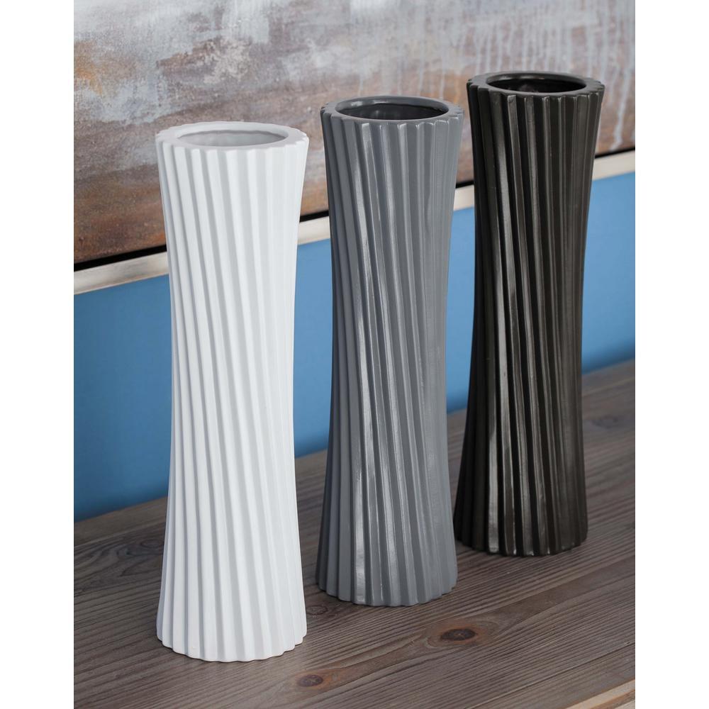 13 in. Ceramic Decorative Vases in Black, White and Gray (Set