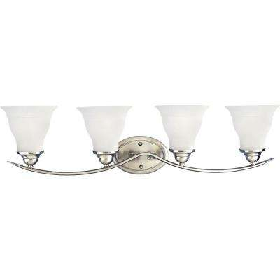 Trinity 4-Light Brushed Nickel Fluorescent Bathroom Vanity Light with Glass Shades
