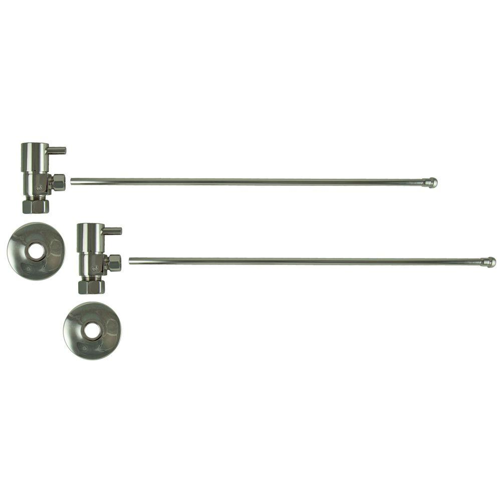3/8 in. O.D x 20 in. Brass Rigid Lavatory Supply Lines with Lever Handle Shutoff Valves in Polished Nickel Barclay provides all your essential bathroom needs. Enjoy the convenience of accessible water shut-off with these decorative lavatory supplies. Choose from 4 designer finishes. Color: Polished Nickel.