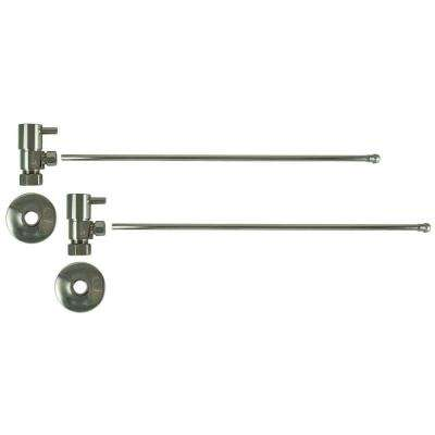 3/8 in. O.D x 20 in. Brass Rigid Lavatory Supply Lines with Lever Handle Shutoff Valves in Polished Nickel