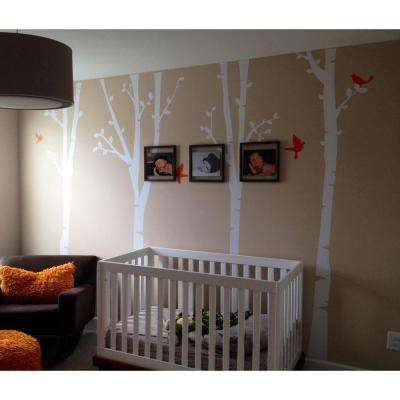 124 in. x 102 in. 4-Super Birch Trees Removable Wall Decal