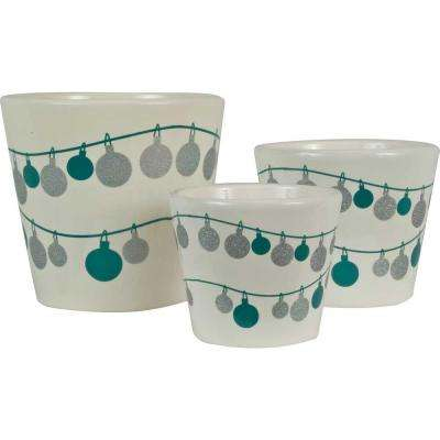 Frost Ornament 6.5 in. Dia, 5.5 in. Dia and 4.5 in. Dia Snow White Ceramic Pot (Set of 3)