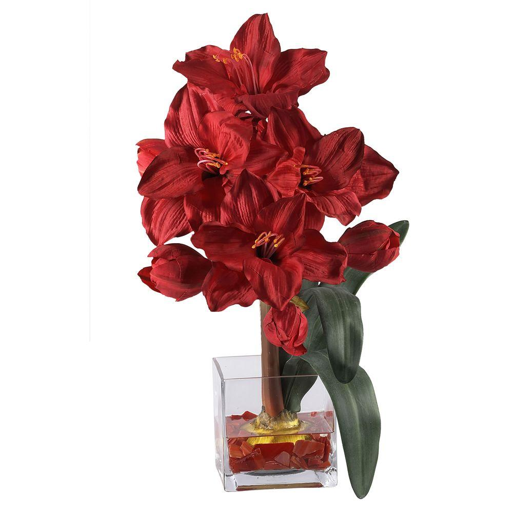 Nearly Natural 20 In Silk Amaryllis Flower 1110 Rd The Home Depot