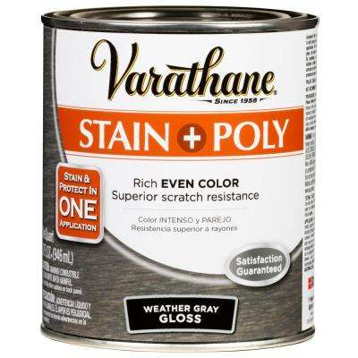 1 Qt. Weathered Gray 450 Gloss Oil-Based Interior Stain and Polyurethane (2-Pack)