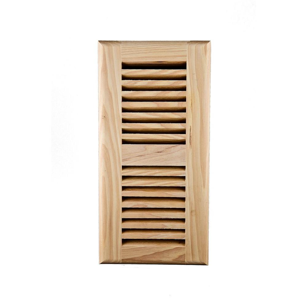 Image Wood Vents 4 x 12 Am Hickory Ready to Finish Self Rimming Register with Metal Damper-DISCONTINUED