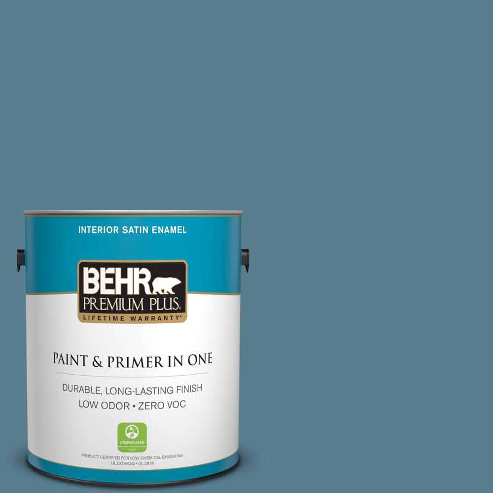 BEHR Premium Plus 1-gal. #ECC-31-1 Windy Seas Zero VOC Satin Enamel Interior Paint