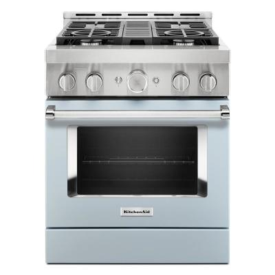 30 in. 4.1 cu. ft. Smart Commercial-Style Gas Range with Self-Cleaning and True Convection in Misty Blue