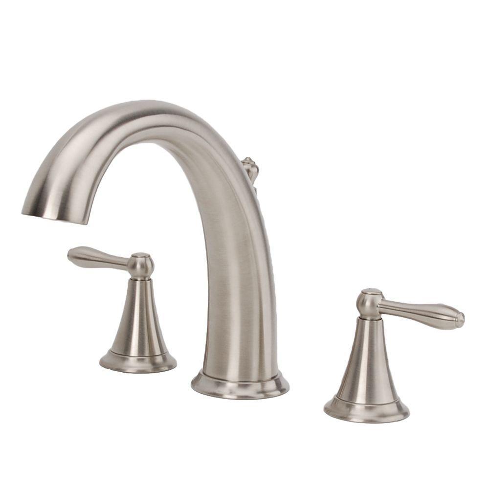 Montbeliard 2-Handle Deck-Mount Roman Tub Faucet in Brushed Nickel