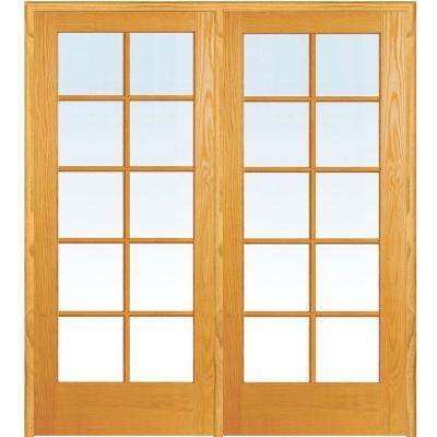 74 in. x 81.75 in. Classic Clear Glass 10-Lite True Divided Unfinished Pine Wood Interior French Double Door