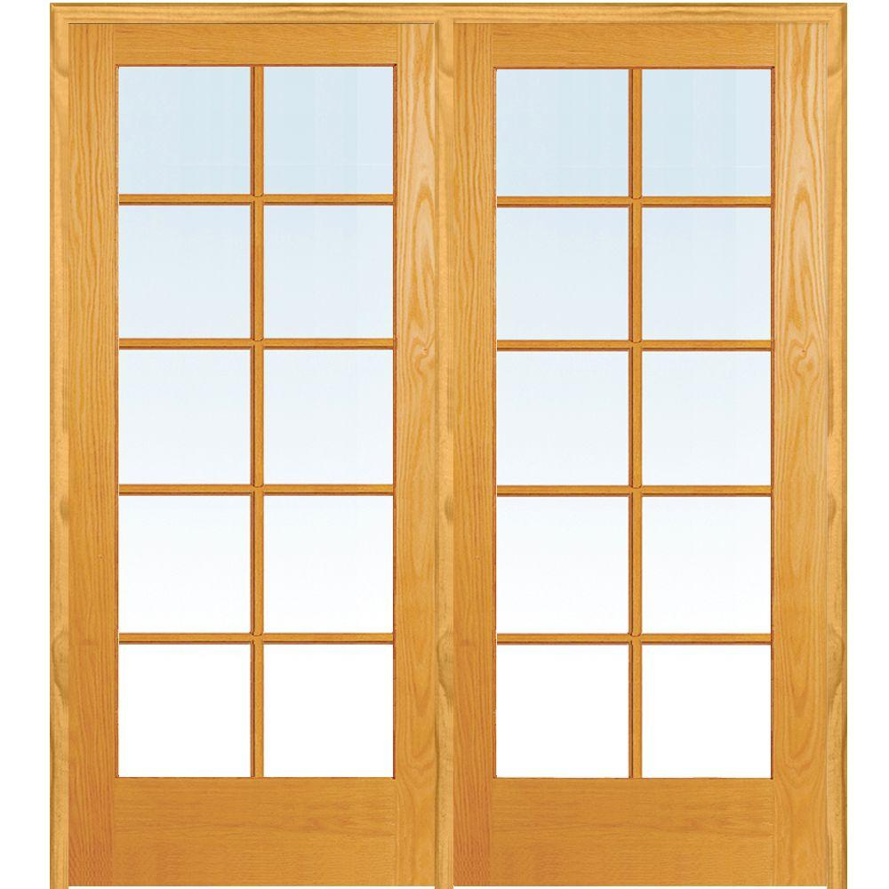 Mmi Door 48 In X 80 In Right Hand Active Unfinished Pine Glass 10 Lite Clear True Divided