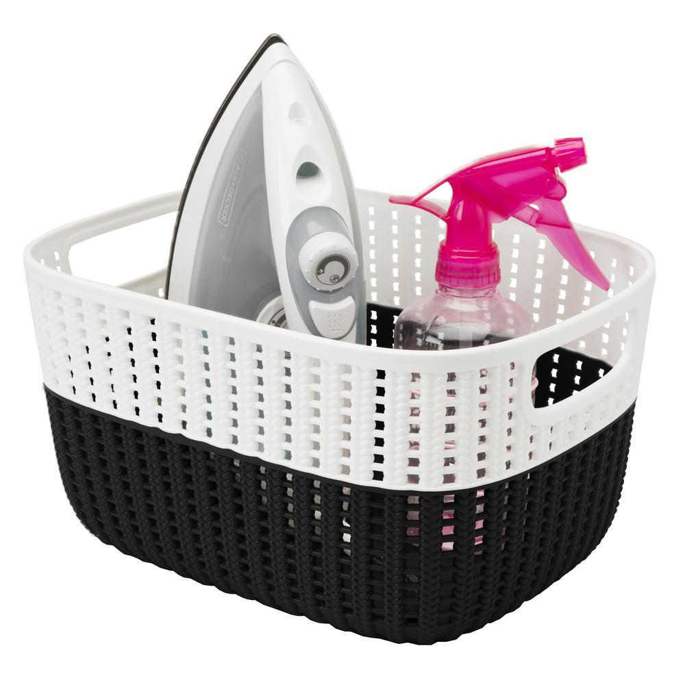 11 in. x 9 in. x 6 in. 2-Tone Decorative Medium Storage Basket in Black