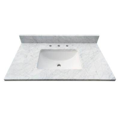 31 in. W x 22 in. D x 1 in. H Bianco Carrara White Marble Vanity Top with White Basin
