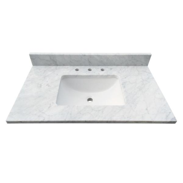 37 in. W x 22 in. D x 1 in. H Bianco Carrara White Marble Vanity Top with White Basin