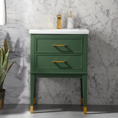 Clara 24 in. W x 18.5 in. D Bath Vanity in Green with Porcelain Vanity Top in White with White Basin