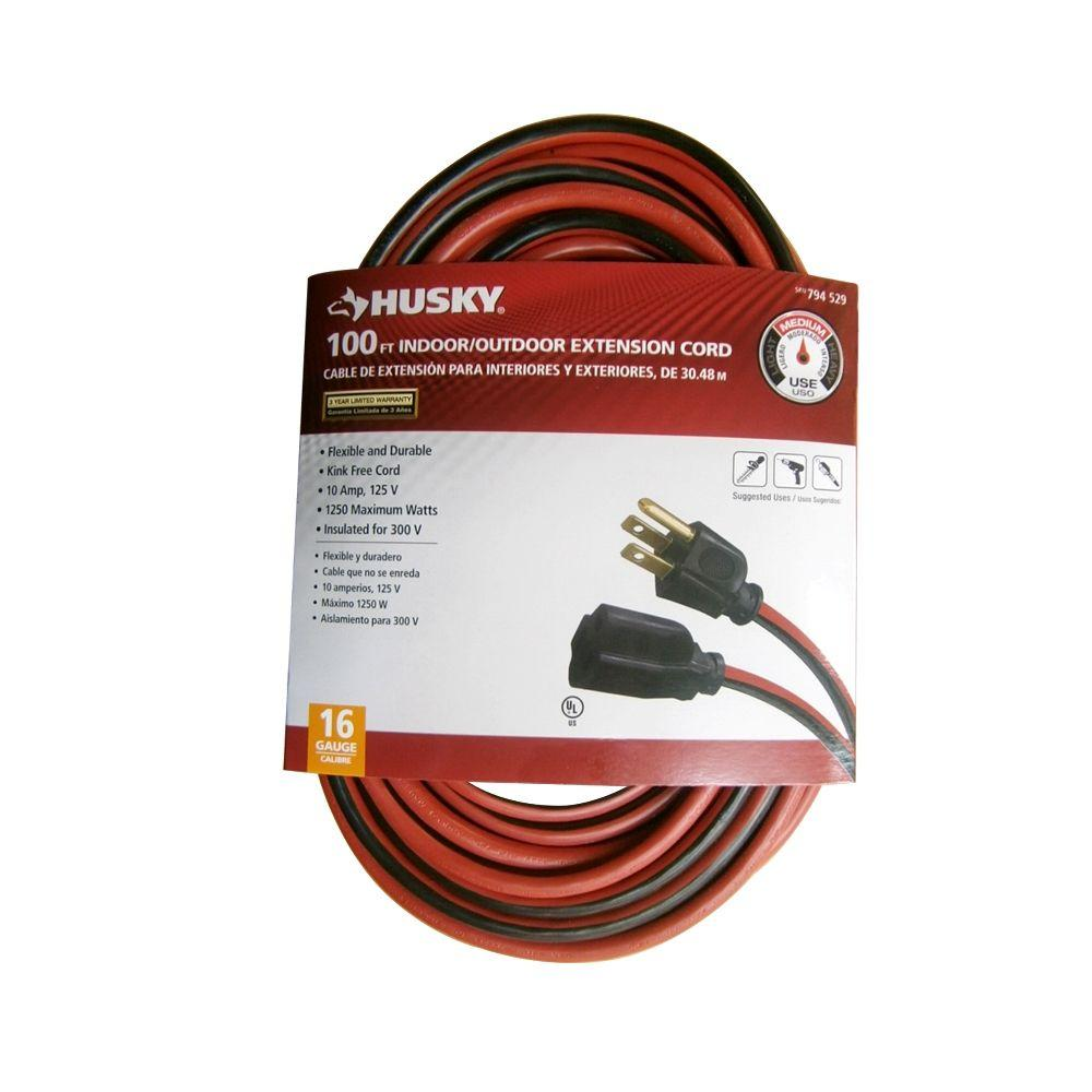 Husky 100 ft. 16/3 Indoor/Outdoor Extension Cord, Red and Black ...
