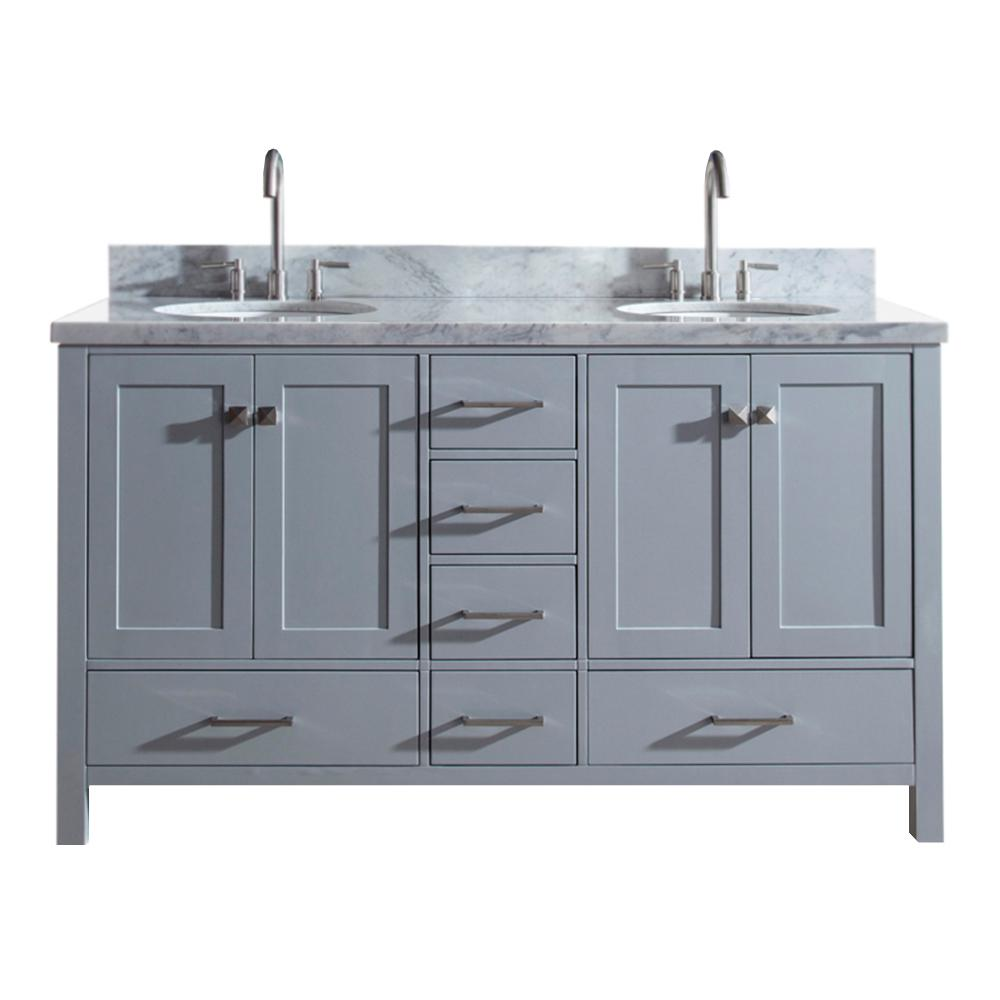 Ariel Cambridge 61 in. Bath Vanity in Gray with Marble Vanity Top in Carrara White with White Basins