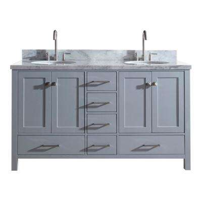 Cambridge 61 in. Bath Vanity in Gray with Marble Vanity Top in Carrara White with White Basins