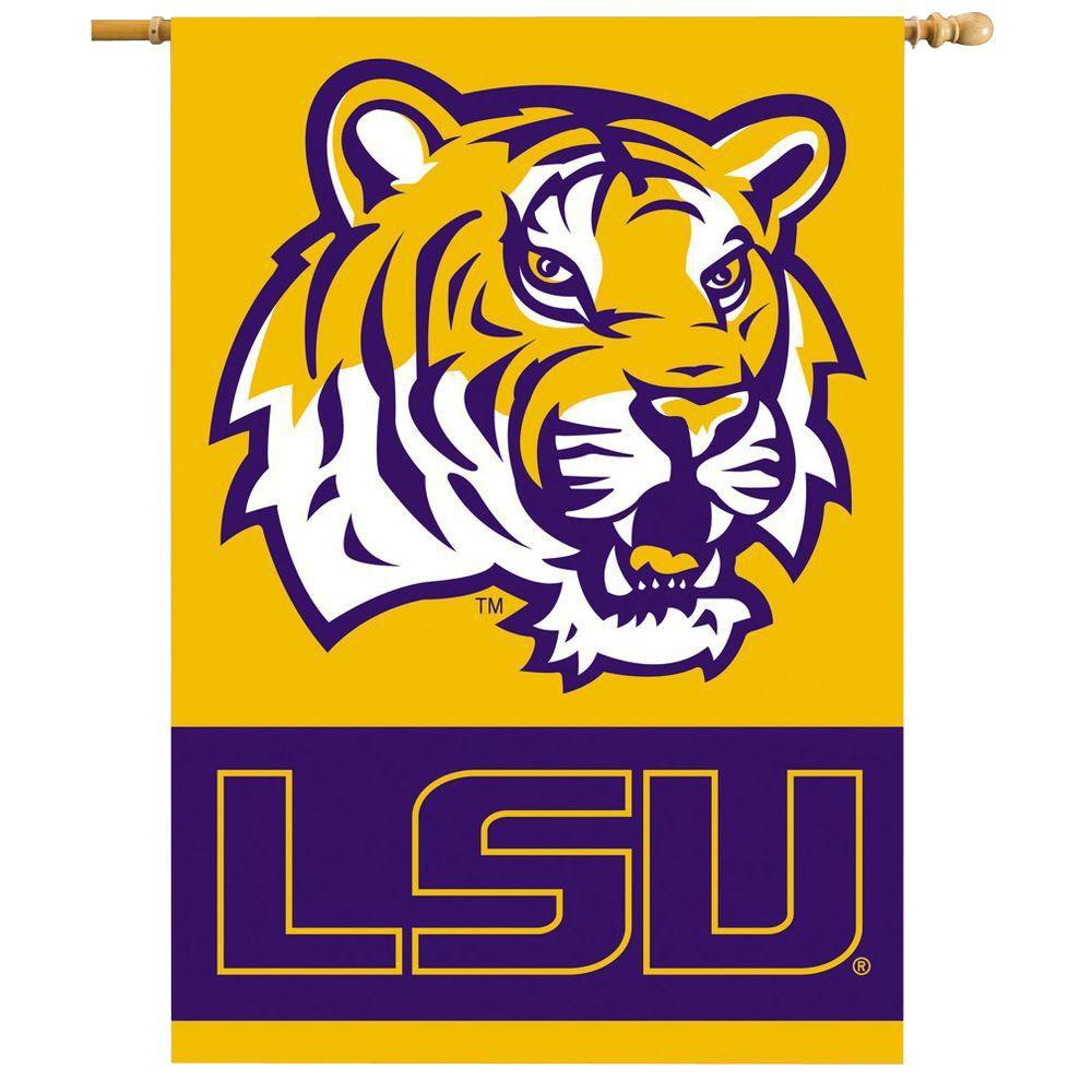 BSI Products NCAA 28 in. x 40 in. LSU 2-Sided Banner with Pole Sleeve