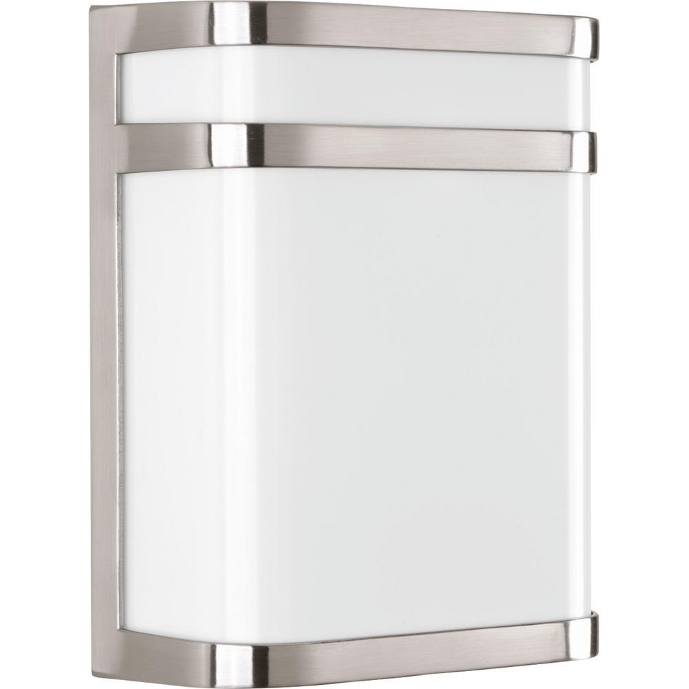 Valera 1-Light 11 in. Outdoor Brushed Nickel Wall Lantern Sconce