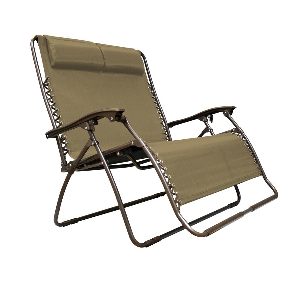 Caravan sports infinity love seat beige metal textilene for Reclining patio chair