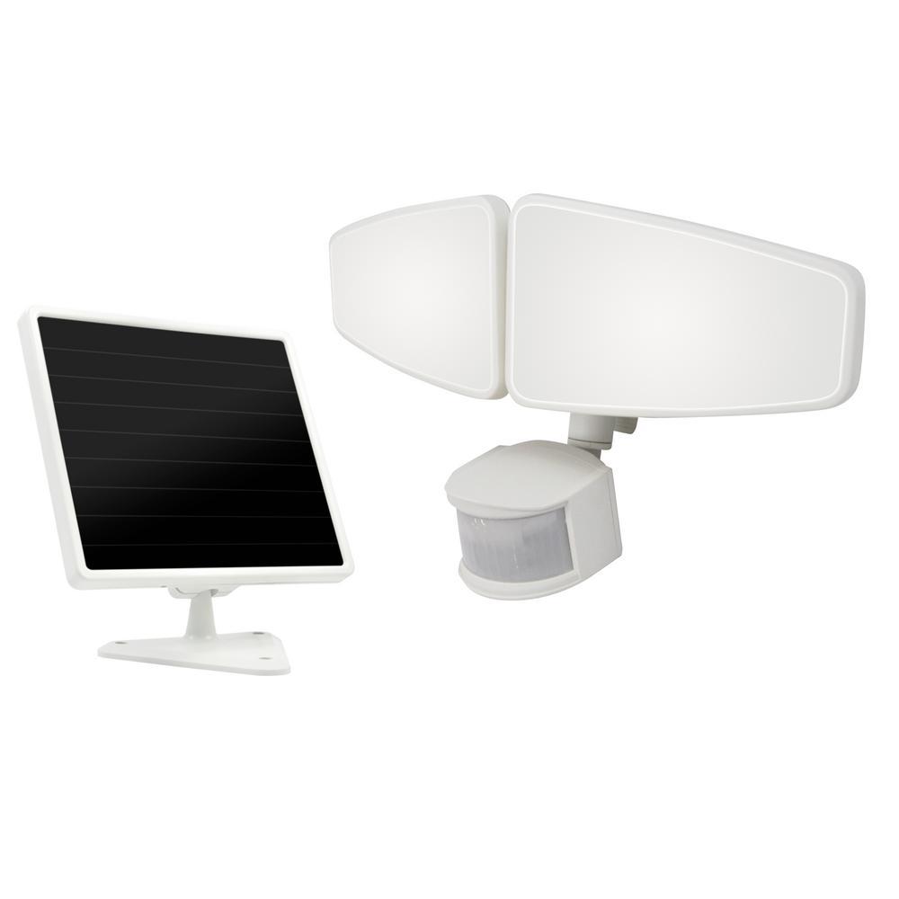 White Outdoor Integrated LED Solar Flood Light