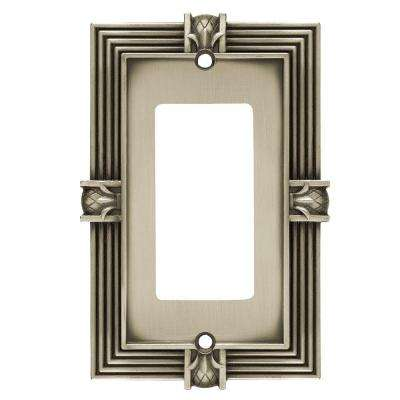 Pineapple Decorative Single Rocker Switch Plate, Brushed Satin Pewter
