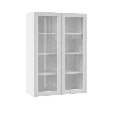 Melvern Assembled 30x42x12 in. Wall Kitchen Cabinet with Glass Doors in White