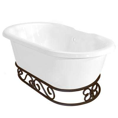 60 in. AcraStone Double Clawfoot Non-Whirlpool Bathtub in White and Base in Old World Bronze
