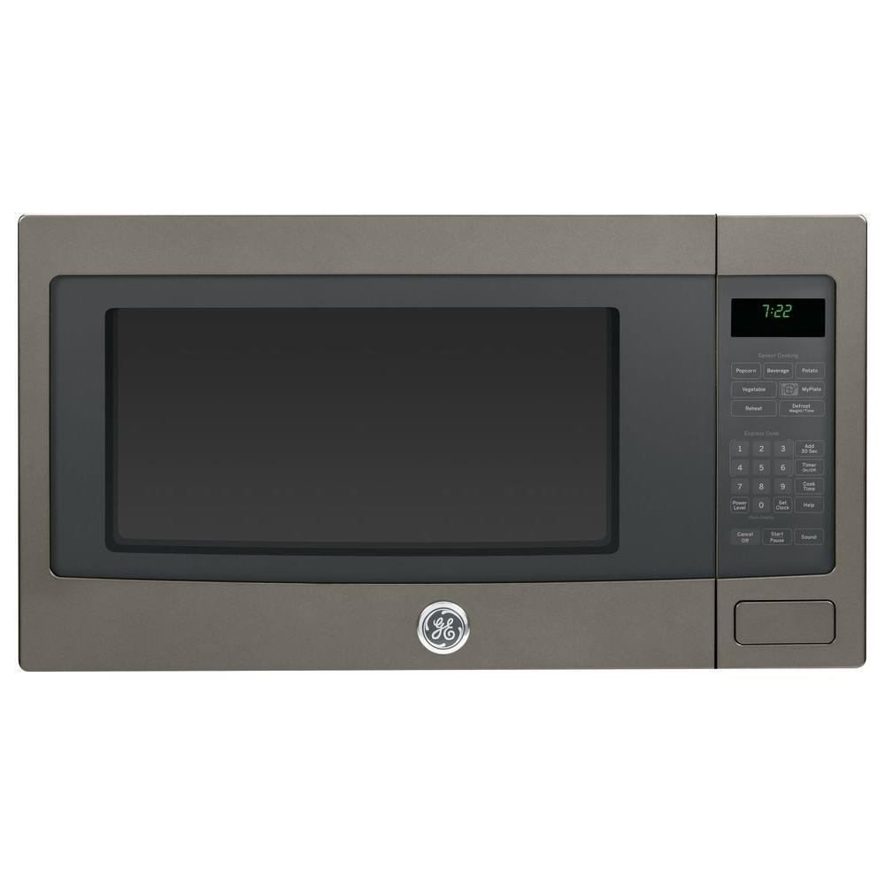 Ge Profile 2 Cu Ft Countertop Microwave With Sensor Cooking In Slate Fingerprint Resistant