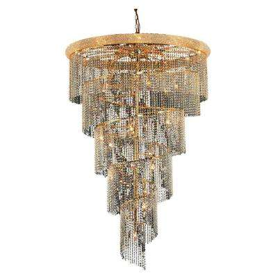 29-Light Gold Chandelier with Crystal Clear