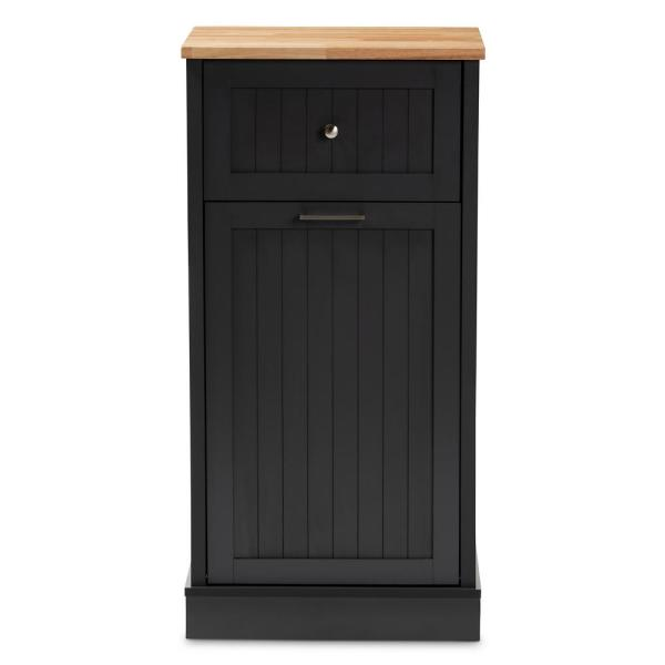 Baxton Studio Marcel Dark Gray and Oak Brown Kitchen Cabinet 147-8319-HD