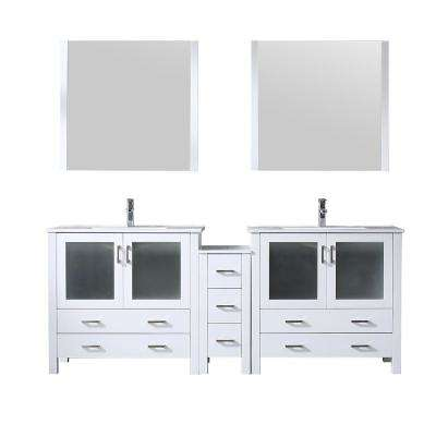 Volez 84 in. Single Bath Vanity in White with Integrated Vanity Top in White with White Square Sink and 34 in. Mirrors