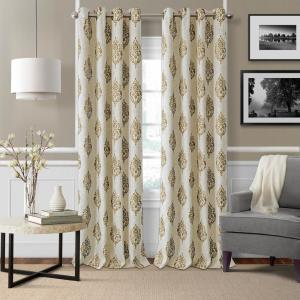 Elrene Navara Natural Single Blackout Window Curtain Panel - 52 inch W x 95 inch L by Elrene
