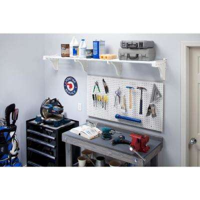 40 in. - 75 in. Metal 2-Expandable Large Garage Shelf in White with 2 End Brackets
