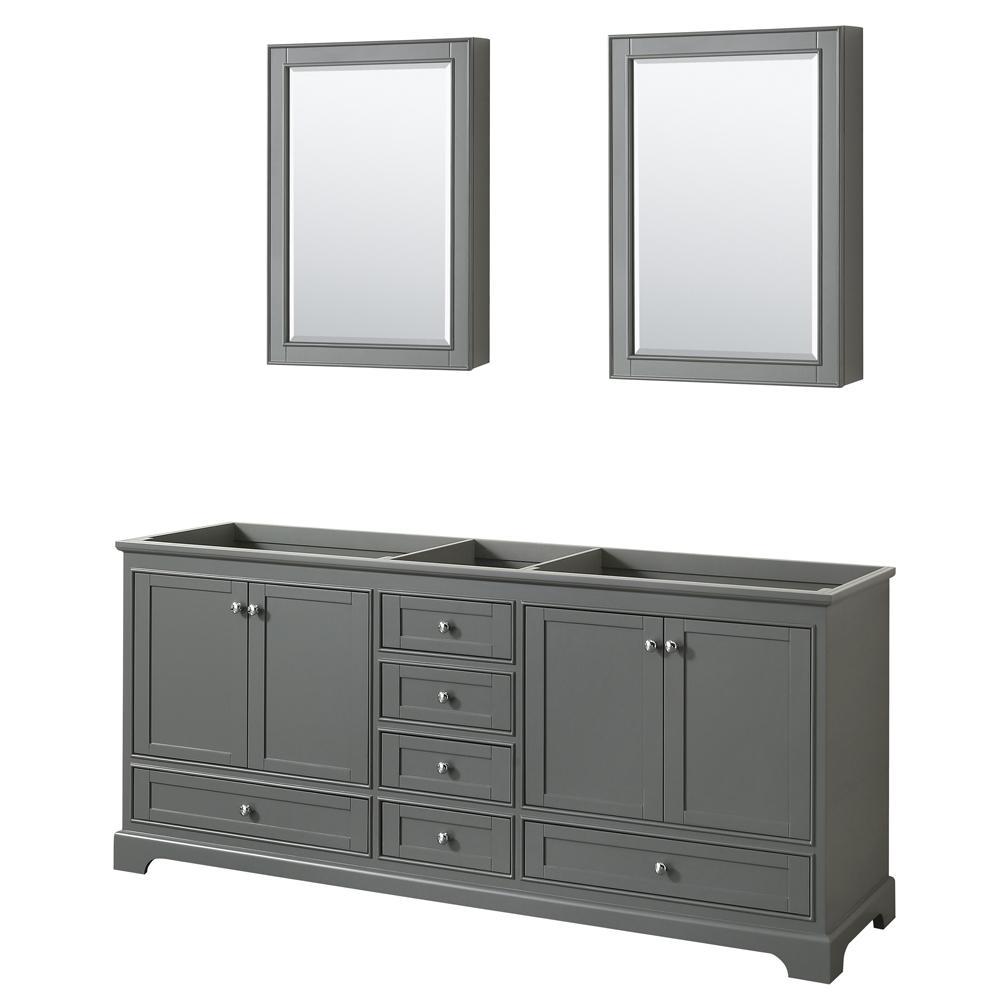 Deborah 79 in. W x 21.625 in. D Vanity Cabinet with Medicine Cabinets in Dark Gray