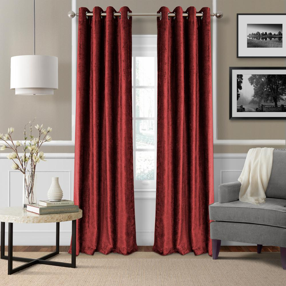 Blackout Victoria Red Blackout Grommet Window Curtain Panel - 52 in.