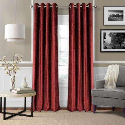 Blackout Victoria Red Blackout Grommet Window Curtain Panel - 52 in. W x 84 in. L