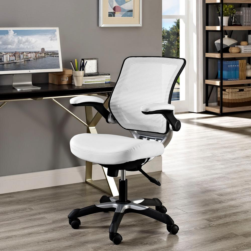 lexmod attainment office chair with mesh back and leatherette