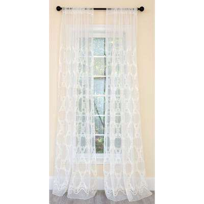 Krystal Clear Geometric Embroidered Sheer Single Rod Pocket Curtain Panel in White - 54 in. x 120 in.