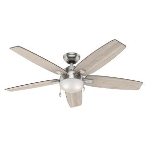 Hunter Antero 54 inch LED Indoor Brushed Nickel Ceiling Fan with Light by Hunter