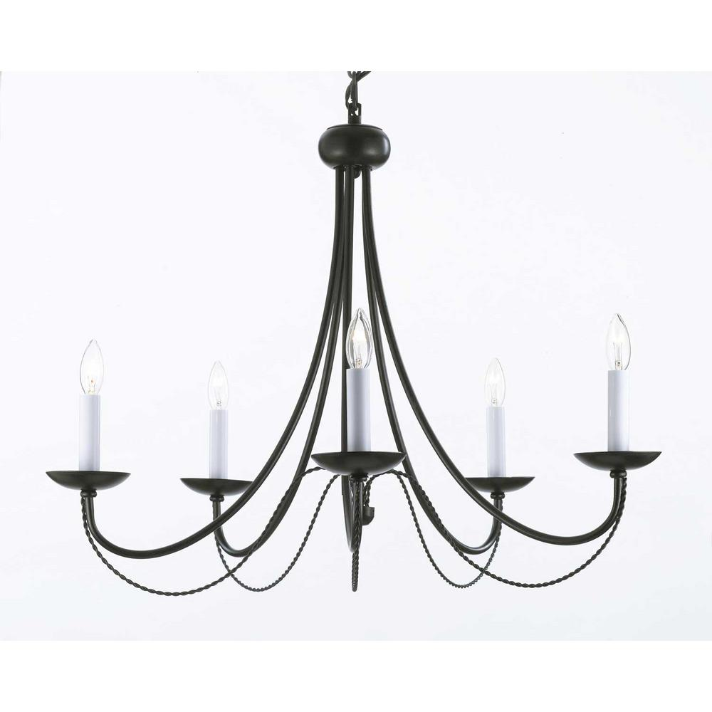 Versailles 5Light Black Iron ChandelierT40460 The Home Depot