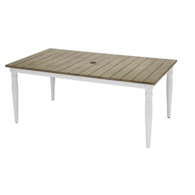 Jasper Ridge Farmhouse White Frame Rectangular Metal Outdoor Patio Dining Table with Wood Grain Tabletop