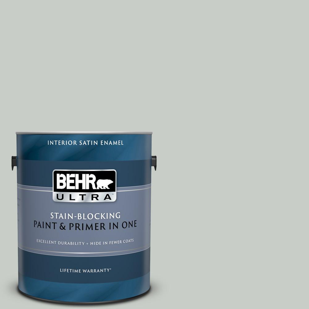 Behr Ultra 1 Gal Pwl 89 Silver Setting Satin Enamel Interior Paint And Primer In One 775001 The Home Depot