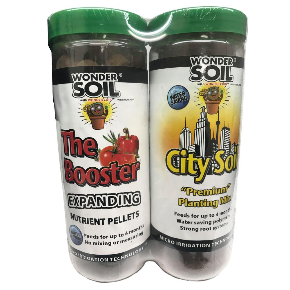 WONDER SOIL Expanding Coco Coir Booster and City Living Soil Wafers Combo Pack