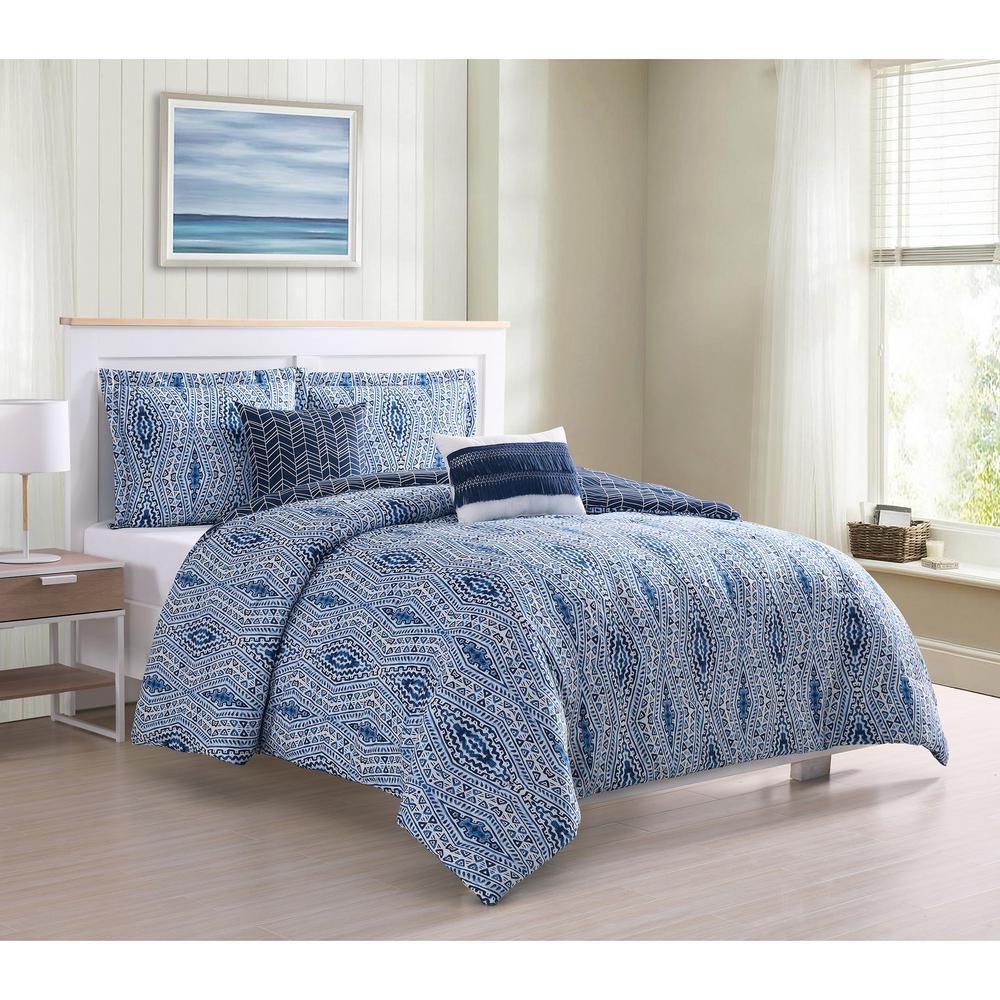 Darhma Aztec 5-Piece Navy Reversible Queen Comforter Set