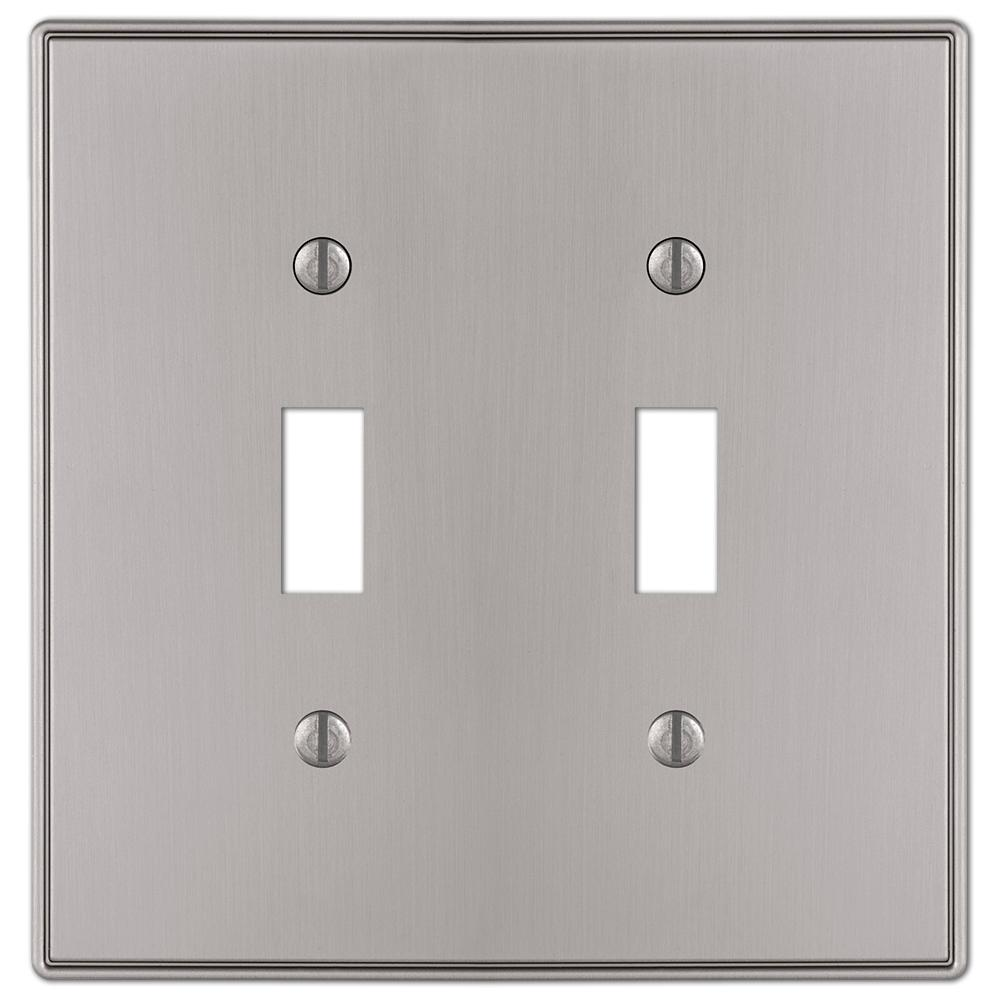 hampton bay ansley cast 2 toggle wall plate brushed nickel 70ttbnhb the home depot. Black Bedroom Furniture Sets. Home Design Ideas