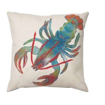 Sea Creatures Lobster Square Outdoor Throw Pillow