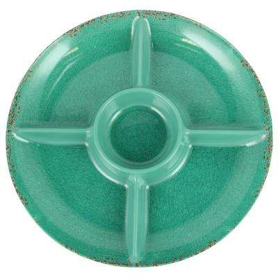 Mauna 15 in. Green Crackle Decal Section Serving Tray