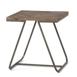 Simpli Home Hailey Solid Aged Elm Wood and Metal Square Table Deals