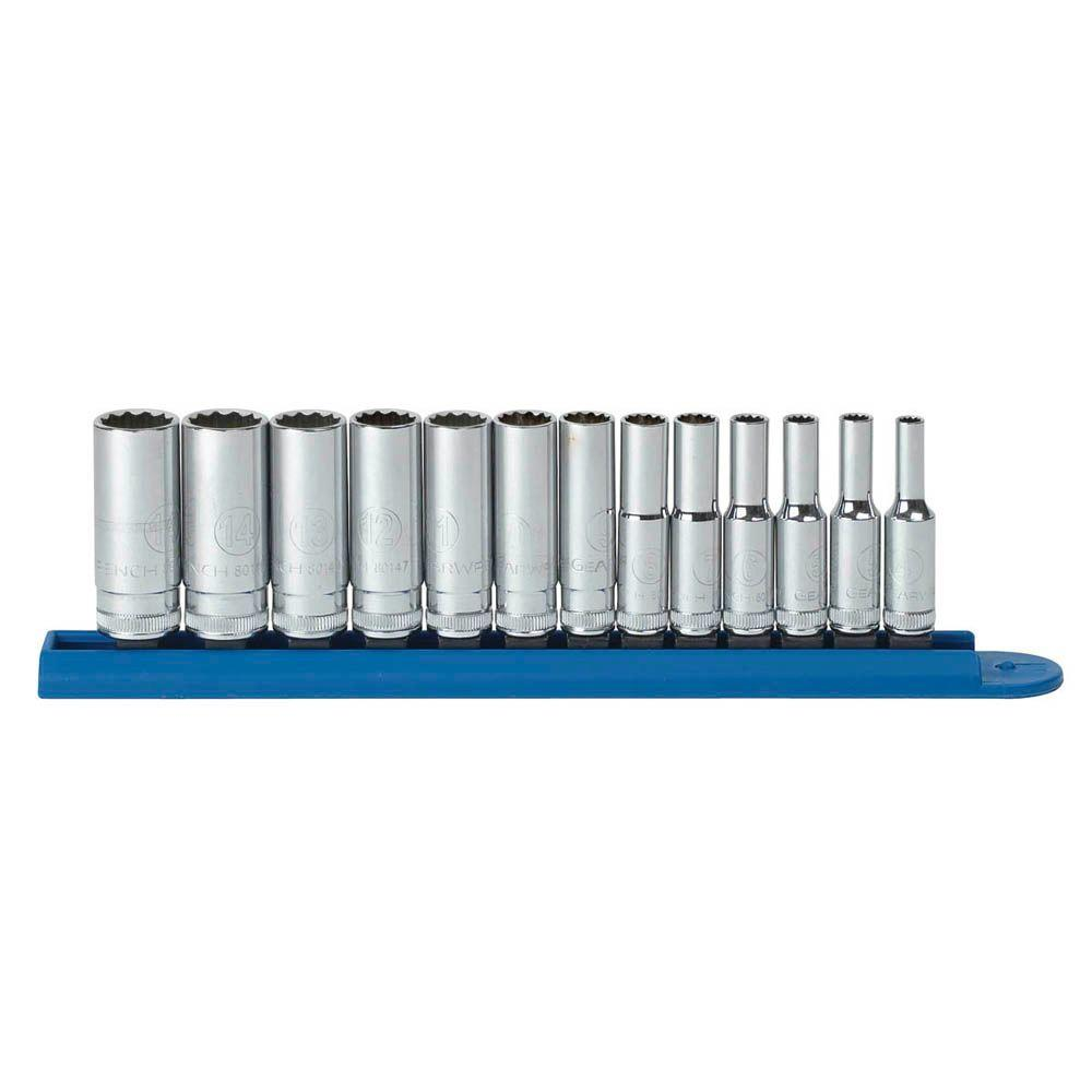 GearWrench 1/4 in. Drive Metric 12-Point Deep Socket Set (13-Piece)